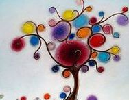 Acrylic Paintings of Trees / Justin D. Miller Paintings and Art, contemporary style with acrylic paint and pen