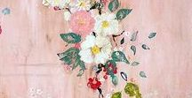 Botanical Art / Paintings of flowers in arrangements, as botanical prints, in natural setting,...