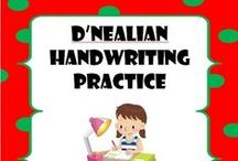 D'Nealian Handwriting Practice / D'Nealian fonts, specially designed for school teachers, you can easily create hundreds of handwriting, spelling & penmanship lessons for your students. They include: 1. ABC D'Nealian Regular 2. ABC D'Nealian Arrows 3. ABC D'Nealian Arrows Dotted 4. ABC D'Nealian Dotted 5. ABC D'Nealian Dotted Lined 6. ABC D'Nealian Lined  Type on Microsoft Word, Mac or any other application and enjoy these fonts' ability to trace lines, dots, arrows or a combination of all three.