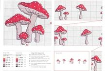 Mushrooms Cross Stitch