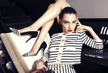 EF   SS 13 AD CAMPAIGN / Refined black & cream stripes are enjoined to powerful and opulent details. Carola Remer and Anne Marwald ooze pure seduction and luxury navy chic style lensed by Camilla Akrans.