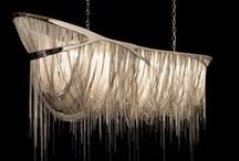 Fringed Lighting / Lighting designers are making a statement with dramatic and sculptural forms made of flowing and delicate fringe and fringe-like designs. Fringed Lighting, h-a-l-e.com