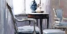Paintings and Drawings of Interior Spaces / Painterly paintings of interior spaces by a variety of artists who create drawings and oil paintings