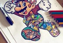 Mario! / I love to draw Mario characters and items. This broad I can save pics of what they look like and their colours.