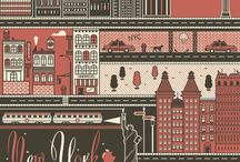 Cities on Illustrations / The Collection of the city themed illustrations.