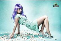 Session 'Candy Girl' / Auftragsarbeit nach strengen Vorgaben. Das Model sollte wenig menschliche Züge behalten und sich an dem Erscheinungsbild einer Puppe orientieren. Die Farben waren limitiert auf lila Haare, türkise Pastelltöne im Hintergrund/Kleid.