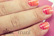 Striped DIY Nails Using Glam My Mani Nail Vinyls. / Nail Vinyls for easy DIY nail designs.