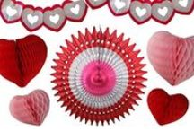 Valentine's Day Heart Honeycomb Decorations / Beautiful Heart-Themed Honeycomb Tissue Paper Decorations made in the USA by Devra Party
