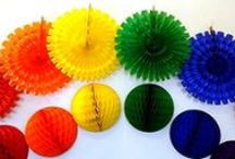 Rainbow Honeycomb Decorations / Rainbow Honeycomb Tissue Paper Decorations and Fans