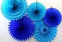 Blue Honeycomb Decorations / Honeycomb decorations and tissue paper fans in blue, aqua, and turquoise.