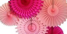 Pink Honeycomb Party Decorations and Tissue Paper Fans
