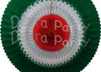 Mexican or Italian Party Decorations / Red, white, and green honeycomb tissue paper fans, bells, balls, garlands, and diamond party decorations. Mexican, Italian, and Christmas themed party supplies.