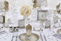 Wedding - Chic Boutique - Ivory/Gold / Wedding stationery, tableware and decorations in classic a white & silver design.