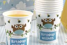 Birthday - Little Owls - Blue / Birthday party tableware and accessories with a cute blue owl design.