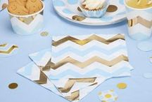 Pattern Works - Mix & Match Party Collection / A mix of pink and blue dots and chevrons combined with gorgeous accents in shiny gold. Pattern Works is super versatile, including mix and match options for a variety of occasions and offering a selection of special additions to ensure your celebration leaves a lasting impression.
