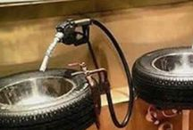 DIY Man Cave Decor / Do It Yourself Man Cave Decor.  Items you can make yourself (or for your husband, ladies).  With items from recycled automotive parts, to industrialized piping, to sports memorabilia, DIY Man Cave Decor has everything you need to keep your husband downstairs, happy and out of your hair!