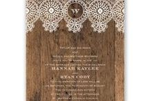 Backyard Beauty with Barnwood & Lace / If you're dreaming of a cozy barnyard or intimate backyard as the backdrop to your wedding, you'll need to account for every last detail to pull together your elegant affair! Top your tables or picnic benches with barnwood and lace décor, balancing earthy charm with modern typography and designs.
