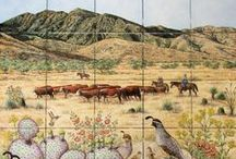 """""""Santa Rita Working Ranch"""" hand painted tile mural / Cowboys driving Red Angus, Hereford cattle on a working ranch in the Santa Rita Mountains of Southern Arizona.   Custom designed decorative kitchen backsplash tile mural.  The client requested in the foreground: Anna's hummingbird, Santa Rita prickly pear cactus, Gambel's quail family, native wildflowers are: caliche globemallow, Arizona Blue-eyes, Arizona poppy, yellow thimbleweed, desert Mariposa lily along with the ranch brand."""