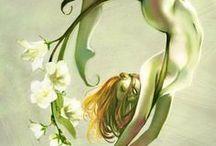 Cute little fairy & house' & troll / bady drgon & unicm  / by pauline johnson