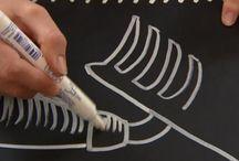 Krijtstift/lettering / Ook op schoolbord en ramen