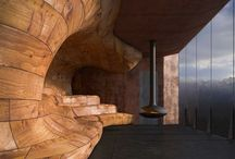 Architectural In Wood / A selection of organic architectural forms and surfaces made from wood. All are intended to support discussion about the use of surface and material to create organic transitions from room envelope to room functions and furniture.