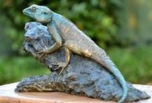 Bronze Sculpture - Tree Agama / Sculpture  of a Tree Agama: Females and juveniles have cryptic, lichen coloured bodies with the breeding males displaying a conspicuously bright cobalt blue head.