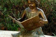 Bronze Sculpture - Wonderland / www.sarahrichards.co.za  This sculpture is titled 'Wonderland' due to the book the child is reading - Alice in Wonderland