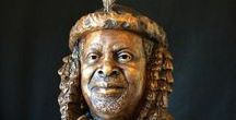 Portrait Bust - King Goodwill Zwelitini / Bronze Bust Sculpture of South Africa's King of the Zulu's, 760 x 720 x 380mm, 2014. www.sarahrichards.co.za #sarahrichards #bronzebabe #southafricanart