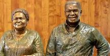 Bronze Sculpture - Mr and Mrs Shongwe / Mr and Mrs Shongwe commissioned these portrait busts to be placed at the entrance to their home. They are both life size portraits, 2016. www.sarahrichards.co.za  #africanart  #bronzebust