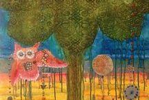 #Steampunk Owl Paintings / Hoolandia, abstract and original steampunk owl paintings by Florida Artist, MiMi Stirn