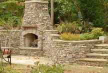Chimneys & Outdoor Fireplaces by Empire Stone Company / An outdoor fireplace can be used all year in Central Oregon. Even on the hottest days in the summer the temperature dips in the evening, so cozy up!
