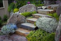 Stone Pathways & Stairs / Pathways or stairs can be created from pavers, flagstone, solid stone stair treads and oversize slabs.