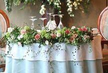 メインテーブル装花 table arrangement for brides and groom / メインテーブル装花いろいろ