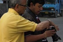 Street Photography Workshop / Photography under the guidance of the very senior photographer Jayanta Saha!  On the first day, after the indoor interactive session at CAMARENA Super Store at E-mall, the participants were taken to the Nakhoda Masjid are where they took some shots of the streets under the watchful eyes of our master, Mr. Jayanta Saha. Next morning, the participants gathered at Kumortuli ghaat in north Kolkata where they got further guidance from our master on how to go about street photography.