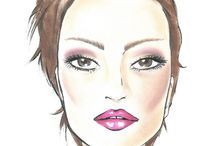 Face charts and eyeshadow application steps for different eye shapes / Face and eye charts