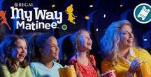 """My Way Matinee / Regal is proud to introduce """"My Way Matinee"""", a sensory friendly viewing experience for all ages! We turn down the sound and turn up the lights, so we can accommodate our guests. This is also a perfect opportunity to introduce your child to experiencing movies at the theatre. http://www.regmovies.com/mywaymatinee"""