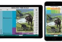 geotimescale enhanced app by Tasa Graphic Arts, Inc. / The geotimescale enhanced app is a complete educational reference for the geologic time scale of Earth's history for students, professional geologists, educators, or anyone interested in geology. Illustrations by Dennis Tasa. This app is available for the iPad, iPhone, and Android devices.