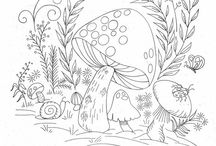 ✐Adult Colouring~Mushrooms ~ Toadstools ~ Zentangles✐ /  ...adult colouring pages...