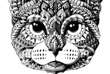 ✐Adult Colouring~Cats~Dogs ~Zentangles / ...gorgeous cats and dogs...adult colouring pages...