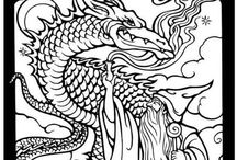 ✐Adult Colouring~Dragons~Lizards~ Snakes~Zentangles /  ...adult colouring pages...dragons....reptiles...