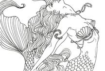 ✐♋Adult Colouring~Under the Sea ~ Fish~Mermaids~Shells / ...ocean life colouring pages for adults...