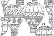 ✐Adult Colouring~Hot Air Balloons / ...adult colouring pages...