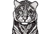 ✐Adult Colouring~Animals~Zentangles / ...gorgeous animals...colouring pages for adults...