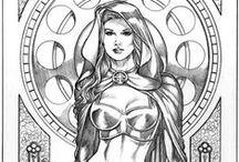 ✐Adult Colouring~Femme~ Goddesses~Beautiful Women / ...colouring pages for adults...beautiful women...
