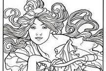 ✐Art Nouveau Coloring Pages / ...Art Nouveau....Alphonse Mucha....colouring pages for adults...