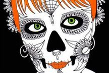 ✐Adult Colouring~Sugar Skulls~Day of the Dead ✐ / ...colouring pages for adults...sugar skulls...day of the dead..halloween...