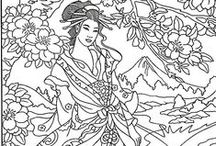 ✐Asian Coloring Pages / ...geisha...oriental...Asian beauties...colouring pages...for adults...coloring...