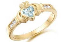 Gold Gem Set Claddagh Rings / Beautiful gold gem set Claddagh rings.