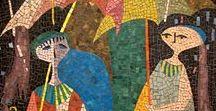 Mosaïque, céramique et vitrail