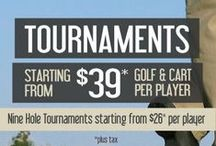 Tournaments & Leagues / Tournament Golf and Cart - Weekdays ( Monday through Friday )  $ 39.00...........  Weekends and Holidays  $ 44.00............   Note : All tournament green fees includes driving range and all applicable taxes!